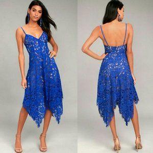 Lulu's One Wish Royal Blue Lace Midi Dress Medium